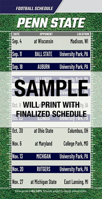 Obsessed image with regard to penn state football schedule printable